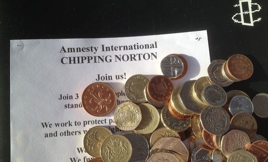 cash collected by Chipping Norton Amnesty Group