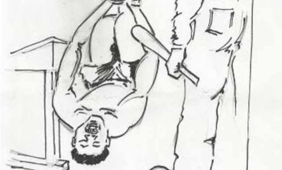 Detainee suspended upside down by feet - illustration