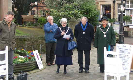 The day of commemoration and reflection is introduced by the Mayor of Minehead.
