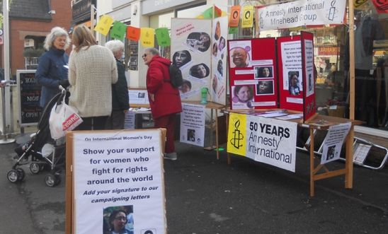 Street stall in Minehead for International Women's Day