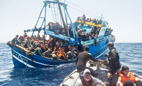 A fishing vessel carrying Syrian asylum seekers