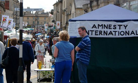 North Wilts Amnesty campaign stall at the Chippenham Folk Festival