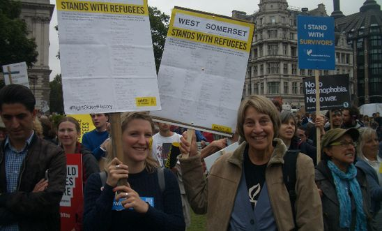 Participants at the Refugees Welcome March in London