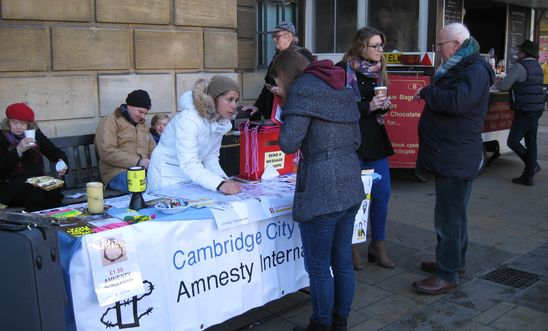 Cambridge City group campaigning and fundraising stall