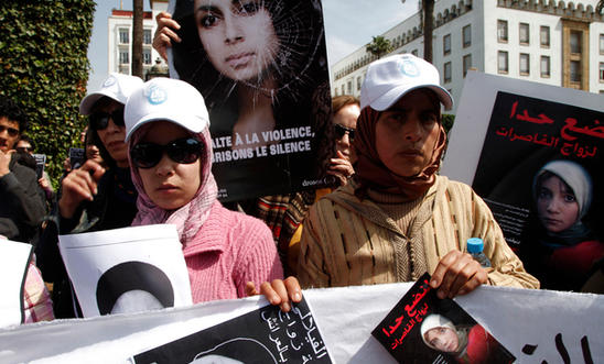 Activists protest against the suicide of Amina al-Filali in Morocco