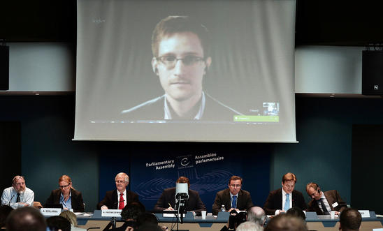 Edward Snowden speaking via video conference