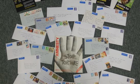 An arrangement of letters written for the Stop Torture campaign