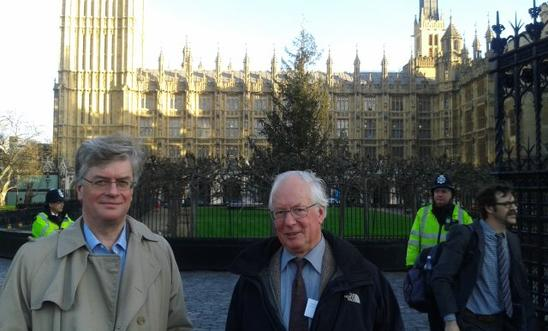 Martin and Ian outside the Houses of Paliament