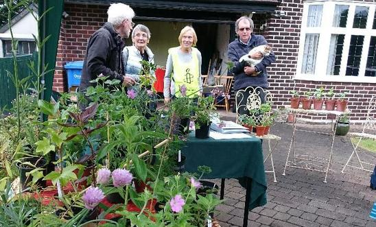 Members taking a break at the plant sale