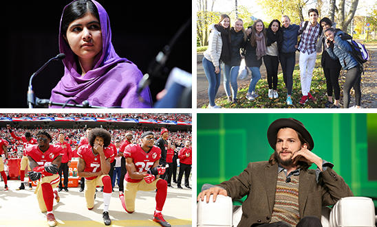 Malala Yousafzai, Norwegian teen activists, Colin Kaepernick and Ashton Kutcher