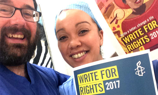 Unison members at Leeds Teaching Hospital taking part in Write for Rights 2017