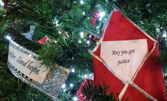 Decorations on the Amnesty Christmas tree