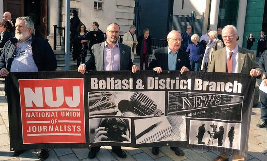 Amnesty International's Patrick Corrigan joined the NUJ solidarity protest outside Belfast High Court