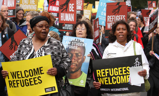 Refugees Welcome demonstration march underway in London