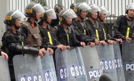 Riot police in Vietnam pictured in 2014