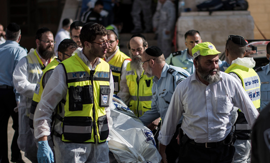 Medical workers after the Jerusalem attack