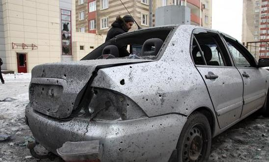Car destroyed by shelling in Ukraine