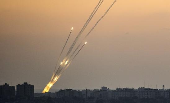 Rockets being fired from the Gaza strip into Israel