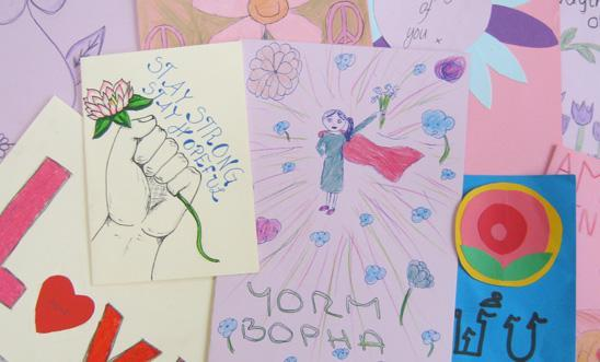 Just a few of the thousands of cards to activists like Yorm Bopha