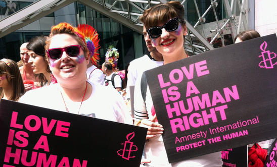 Amnesty activists at London Pride 2013