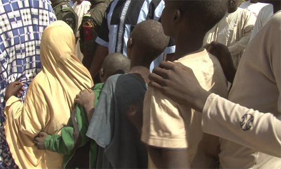 Children detained at Giwa barracks in a queue during their release ceremony