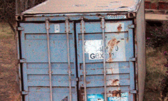Metal shipping container of the type used to imprison political prisoners