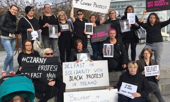 Black Monday protestors in Belfast earlier today