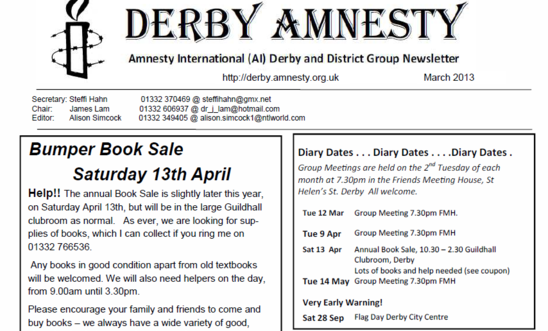 Amnesty Derby Newsletter - March 2013