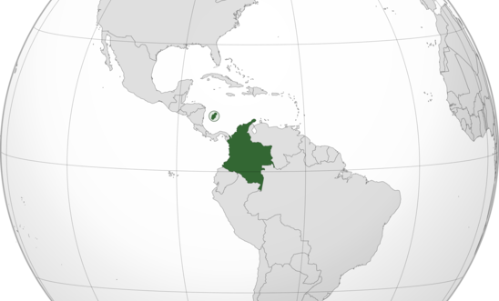 Orthographic map of Colombia centered at 5° N, 73° W; taken from Wikimedia