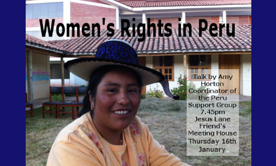Talk by Coordinator of Peru Support Group on Women's Rights this Thursday 16th J