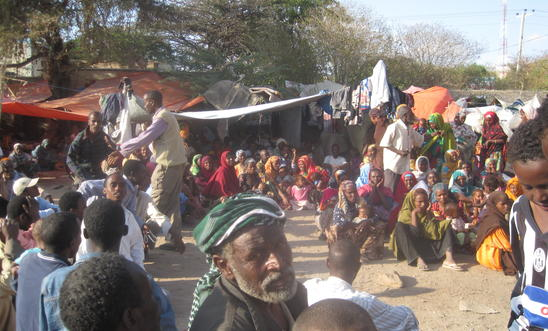 Destitute Oromo refugees camping on the street in Hargeisa, Somaliland