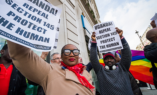 LGBTI supporters demonstrate outside the Ugandan High Commission, London