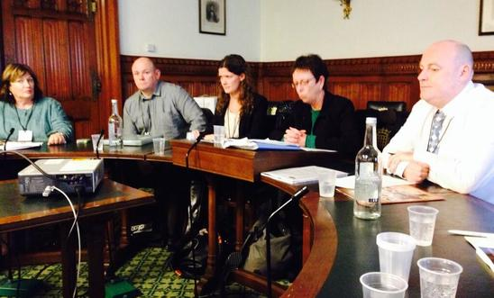 Speaking on Amnesty panel at Westminster are victims from across the community