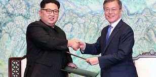 North Korea's leader Kim Jong Un and South Korea's President Moon Jae-in meet on 27 April 2018