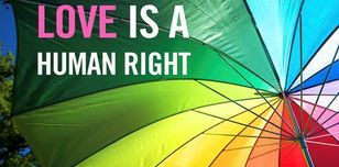Image shows a rainbow umbrella with the caption Love is a Human Right