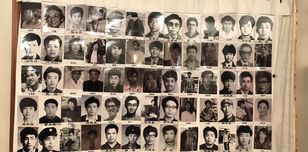 Image shows a pictures of students killed at Tiananmen Square