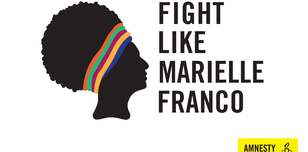 A placard says Fight Like Marielle Franco