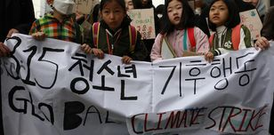 Young people striking for urgent climate action in Seoul, South Korea