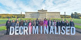 Pro choice stunt outside of Stormont