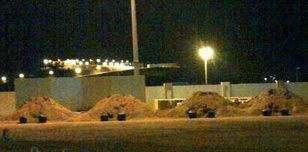 Mounds erected for public executions in a square in Saudi Arabia.