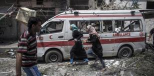 Ambulance hit by shelling in Gaza