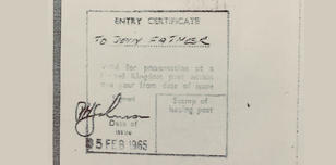 Stamp of entry for a child joining their father in the UK in 1965 (with no limit on entry or stay)