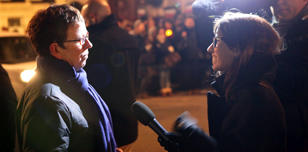 Kate Allan being interviewed by the BBC at a protest to free Raif Badawi, Feb 15
