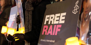Protest to free Raif Badawi in London, February 2015