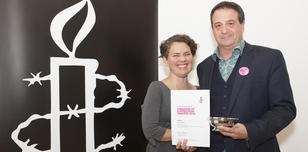 Freedom of Expression Award winners 2014 Mark Thomas and Emma Callander