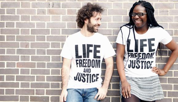 Amnesty staff wearing Amnesty t-shirts