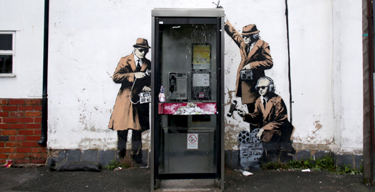 Banksy graffiti near GCHQ in Cheltenham