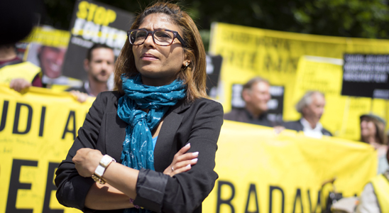 Ensaf Haidar at an Amnesty protest in Berlin © Amnesty International