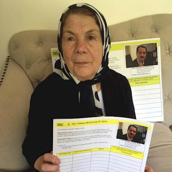Ezat Taheri campaigning for her son