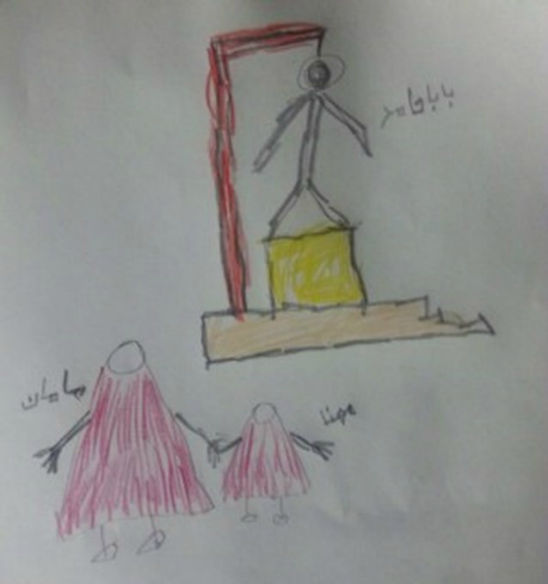 Drawing by Mohanna Ahmadi, young daughter of Sunni prisoner Hamed Ahmadi